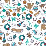 Vector winter seamless pattern with snowman, sweater and snowflakes Royalty Free Stock Photos