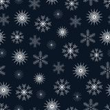 Vector winter seamless pattern with various white snowflakes Stock Image