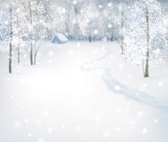 Vector winter snow landscape. Winter wonderland  snow landscape, house in forest Stock Photos