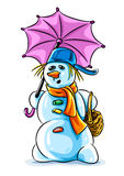 Vector winter snowman with pink umbrella Stock Photos