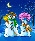 Vector winter snowmen with broom pink umbrella Royalty Free Stock Photos