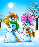 Vector winter snowmen with broom pink umbrella Royalty Free Stock Image
