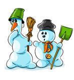 Vector winter snowmen with cleaning tools Royalty Free Stock Photography