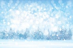 Vector winter snowy forest background. royalty free illustration