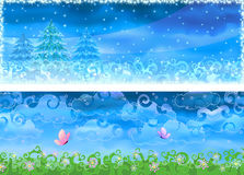 Vector winter and summer banners. Two colorful  winter and summer banners (other landscapes are in my gallery Royalty Free Stock Image