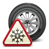 Vector Winter Tire with Sign Royalty Free Stock Photography