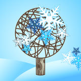 Vector winter tree with snowfkakes Stock Photo