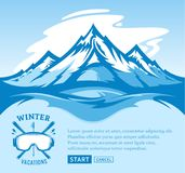 Vector winter vacations illustration. Winter recreation banner for tourism organizations and winter resorts Royalty Free Stock Images