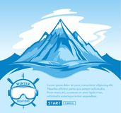 Vector winter vacations illustration. Winter recreation banner for tourism organizations and winter resorts Stock Image