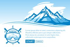 Vector winter vacations illustration. Winter recreation banner for tourism organizations and winter resorts Stock Photos