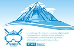 Vector winter vacations illustration. Winter recreation banner for tourism organizations and winter resorts Stock Photo