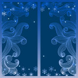 Vector winter window. Vector illustration with night winter window and snowflakes Stock Photography