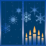 Vector winter window. Vector illustration with night winter window and snowflakes Royalty Free Stock Photos