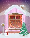 Vector Winternachtszene des Fensters mit Weihnachtskerzen, -lichtern und -geschenken Stockbild