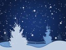 Vector Winternachtwaldhintergrund mit fallendem Schnee Stockbilder