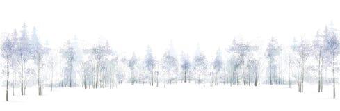 Vector Winterszene mit dem Waldhintergrund, der auf Weiß lokalisiert wird Lizenzfreies Stockbild