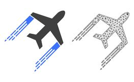 Vector Wire Frame Mesh Airplane Trail and Flat Icon royalty free illustration