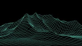Vector wireframe 3d landscape. Grid illustration royalty free illustration