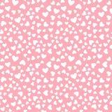 Vector wit hart naadloos die patroon op roze achtergrond wordt geïsoleerd Stock Afbeeldingen