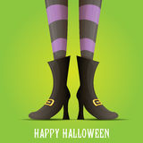 Vector witch legs halloween background Royalty Free Stock Photos