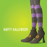 Vector witch legs halloween background. Vector girls legs with stripped stockings. witch legs halloween background Royalty Free Stock Photo