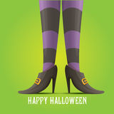 Vector witch legs halloween background. Vector girls legs with stripped stockings. witch legs halloween background Royalty Free Stock Image