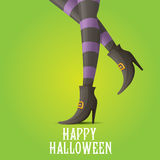 Vector witch legs halloween background. Vector girls legs with stripped stockings. witch legs halloween background Royalty Free Stock Photography