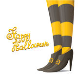 Vector witch legs halloween background. Vector girls legs with stripped stockings. witch legs halloween background Royalty Free Stock Photos