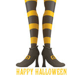 Vector witch legs halloween background. Vector girls legs with stripped stockings. witch legs halloween background Royalty Free Stock Images
