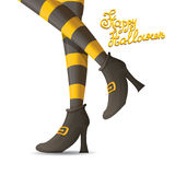 Vector witch legs halloween background. Vector girls legs with stripped stockings. witch legs halloween background Stock Image