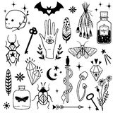 Vector witch magic design elements set. Hand drawn doodle, sketch magician collection. Witchcraft symbols:  potion, skull, crystal, eyes, knife. Perfect for Royalty Free Stock Image