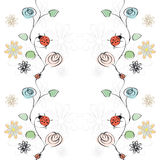 Vector With Flowers And Ladybirds Stock Image