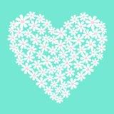 Vector witte bloemen in hartvorm Stock Fotografie