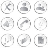 Vector witte ronde Webknopen Stock Fotografie