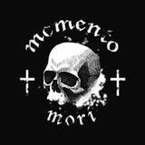 Vector witte schedel op zwarte achtergrond in grunge Stock Foto's