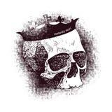 Vector witte schedel op zwarte achtergrond in grunge Royalty-vrije Stock Afbeelding