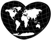 Vector witte wereldkaart in 3d hart Stock Afbeelding