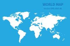 Vector witte wereldkaart op blauwe achtergrond Stock Foto's