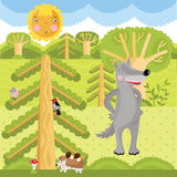 Vector wolf on the forest. Vector set of wild animals on the forest vector illustration