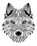 Vector Wolf head zentangle Royalty Free Stock Photo