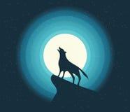 Vector Wolf Howling en el claro de luna Foto de archivo