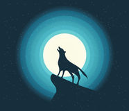 Vector. Wolf Howling in the Moonlight Stock Photo