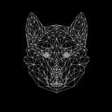Vector wolf thin line style. Wolf low poly design illustration. Abstract mammal animal. Dog face silhouette for printing Royalty Free Stock Image