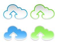 Vector Wolkenaufkleber mit Pfeilen, Set von vier Vektor Abbildung