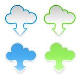 Vector Wolkenaufkleber mit Pfeilen, Set von vier Lizenzfreie Abbildung