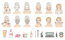 Vector woman applying facial mask, face treatment. Vector woman stages of applying facial mask and cleaning wace after make-up set. Face skin treatment, therapy vector illustration