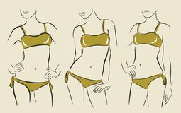 Vector woman in bikini Royalty Free Stock Photos