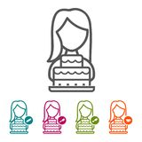 Vector Woman with Birthday cake icons in thin line Style and flat Design. Vector Woman with Birthday cake icons in thin line Style and flat Design for Websites Royalty Free Stock Photo