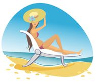 Vector woman brunette on the beach Royalty Free Stock Photography
