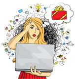 Vector woman buy Christmas gifts online Stock Photography